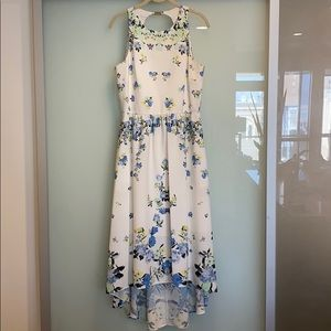 White Dress with Floral Pattern